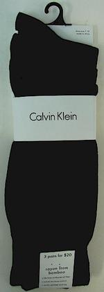Calvin Klein Men's 3-Pack Socks Black ACG173 Rayon UPC: