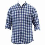 Nautica Men's Long Sleeve Heirloom Plaid Linen Button Down Shirt UPC: