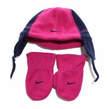 Nike Swoosh Logo Toddler Girl's Fleece Beanie Hat & Mittens Set