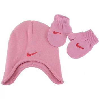 Nike Toddler Girl's 2-Piece Winter Knit Beanie Hat & Mittens Set